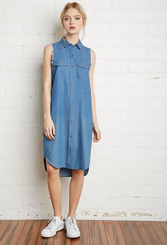 a0b7e397 Frayed Denim Shirt Dress | Forever 21 | #f21denim | Stylin' in 2019 ...