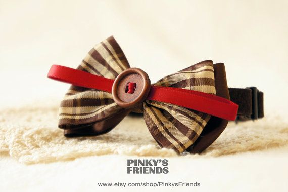 Lattice British style Pet Bow Tie Collar, Pet Collar for Cats/Dogs by PinkysFriends, $18.30