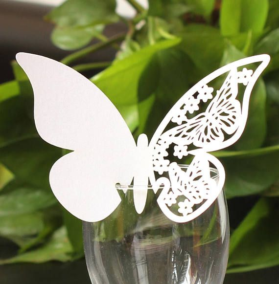 50PCS WEDDING PARTY PEARLESCENT LASER CUT BUTTERFLY PLACE CARDS TABLE NAME