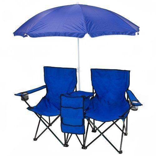 Picnic Double Folding Chair W Umbrella Table Cooler Fold