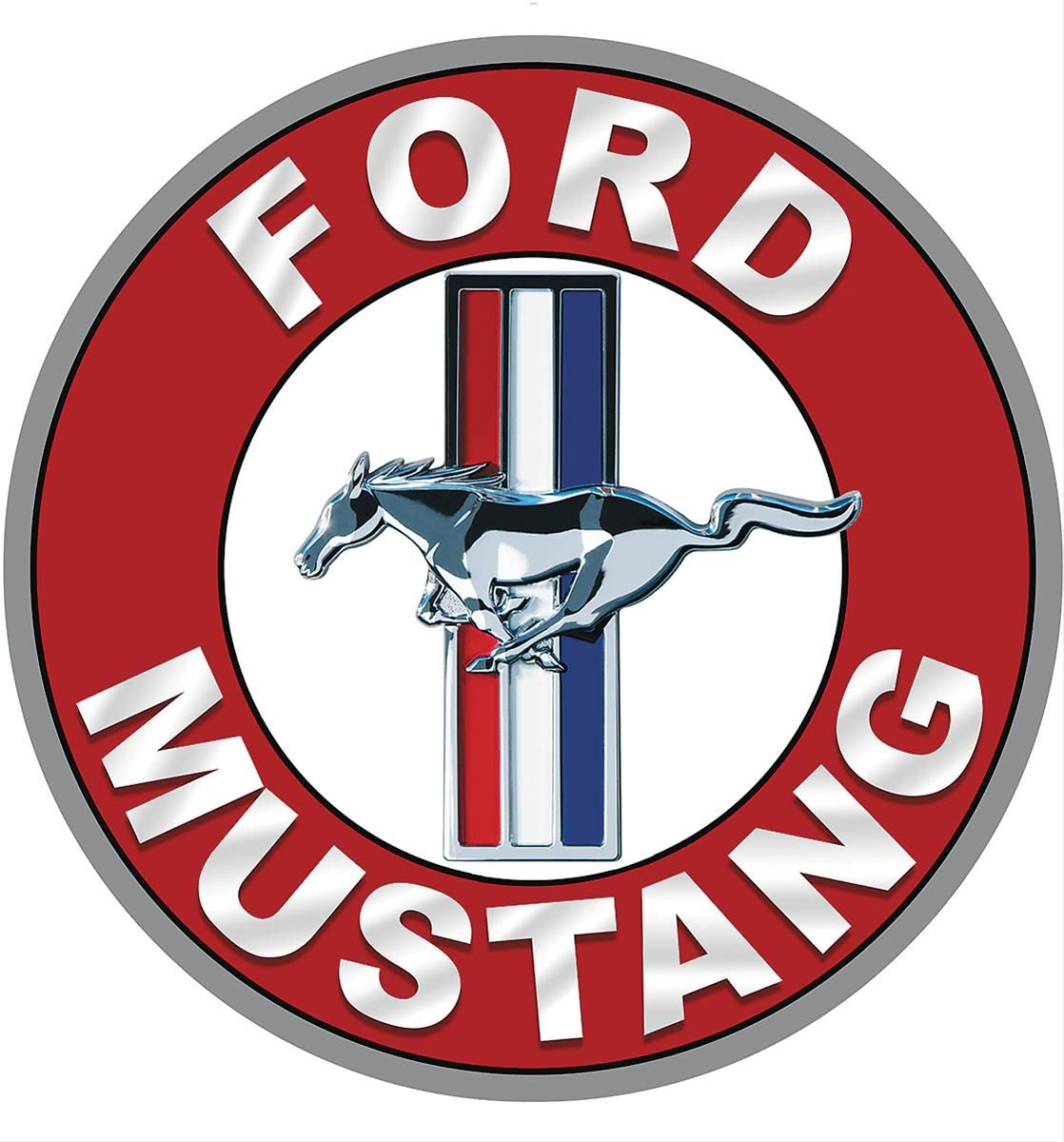 Ford mustang tri bar round steel sign free shipping on orders cars buycottarizona