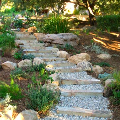 Stone And Pea Gravel Steps Design Pictures Remodel Decor And Ideas Garden Stairs Backyard