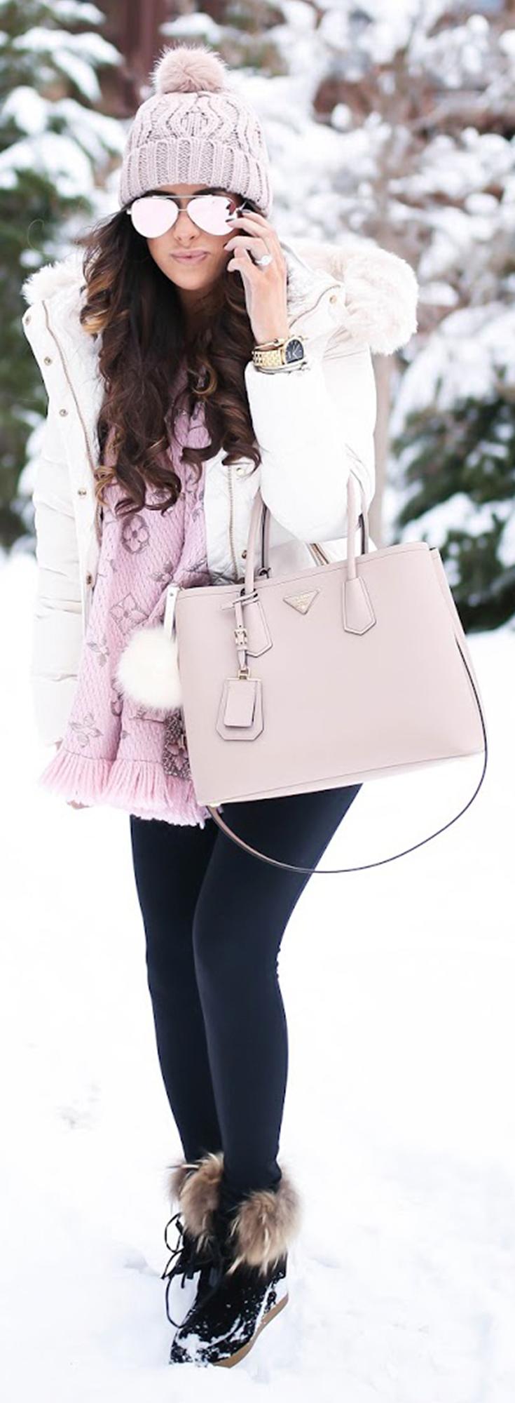 JACKET: old  BEANIE: H&M  SUNGLASSES   LEGGINGS:Zella  TEE:BP  HANDBAG:Prada  WATCH:Nixon  BRACELETS:The Styled Collectionc/o,David Yurman BOOTIES:Cecelia New York   SCARF:LV (RoseBallerine). The Sweetest Thing Blog, Emily Gemma Outfit. Fashion Style for Winter. Fashion Inspiration for Winter. #thesweetestthingblog #emilygemma #wintertrends #fashionstyle