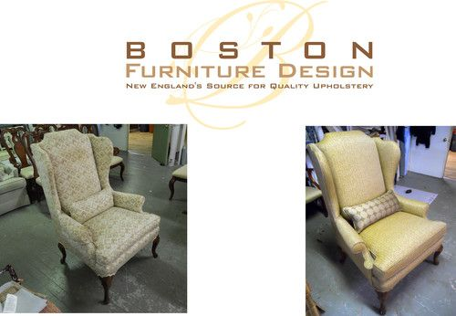 Attirant New Down Filled Kidney Pillow And Reupholstered Wing Chair By Boston  Furniture Design; New Englands