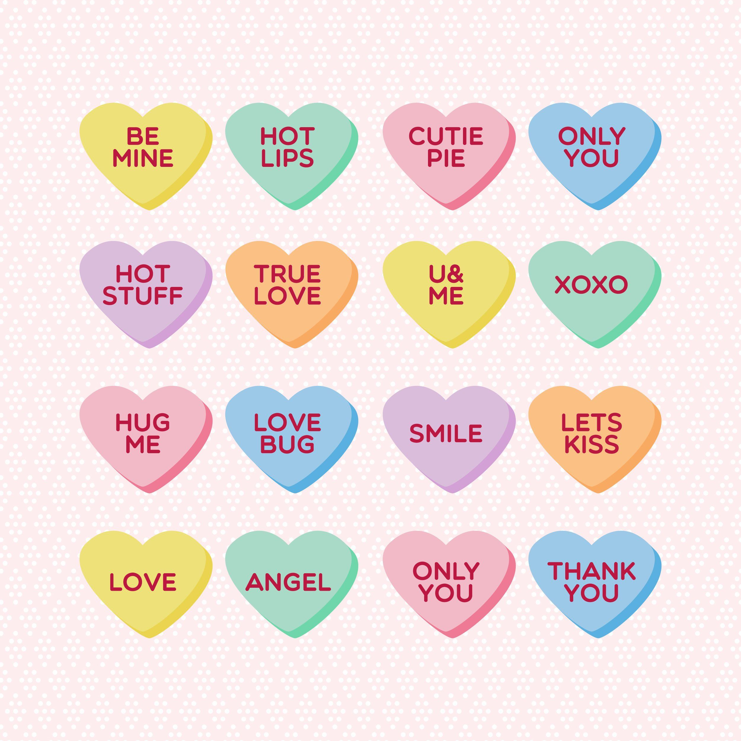 Pin By Paola Palma On V Day Valentine Candy Hearts Valentine Candy Bts Aesthetic Wallpaper For Phone