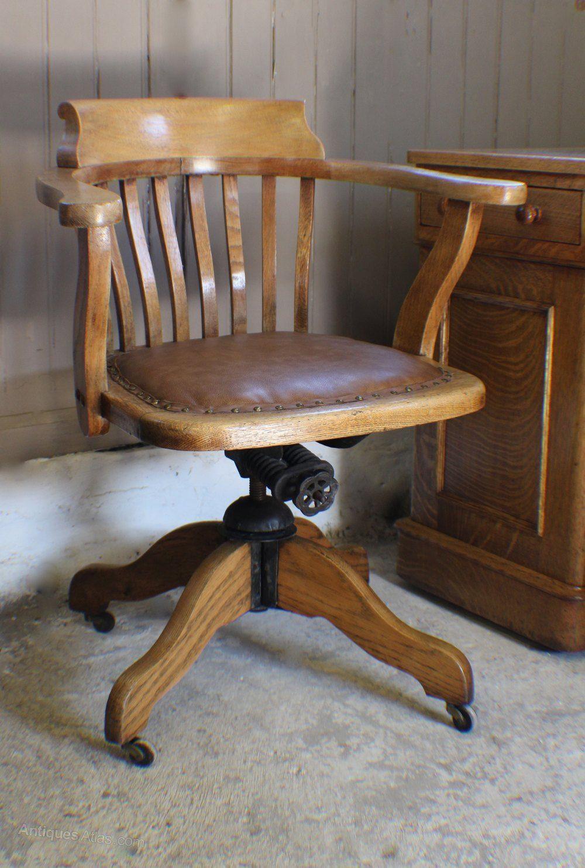 Vintage Oak & 1930s Adjustable Desk Office Chair