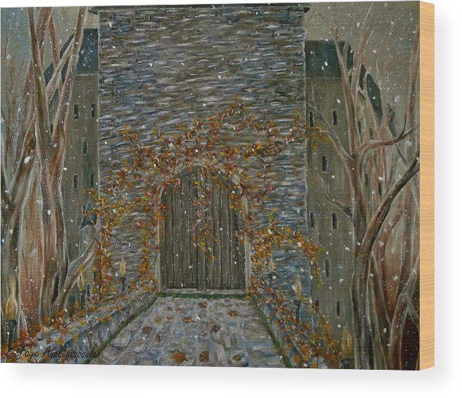 Wood print, painting, art, castle, entrance, door, old, building ...