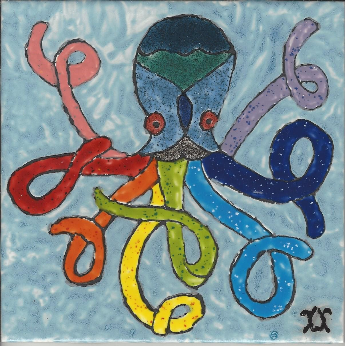Hand Painted Decorative Ceramic Picture Tiles Interesting Rainbow Octopus Hand Painted Kiln Fired Decorative Ceramic Wall Design Decoration