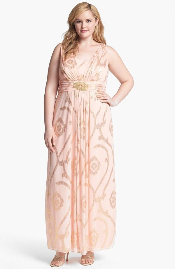 ef4750cc7019b NWOT Xscape Metallic Threaded Chiffon Maxi Dress Peach Pink Gold Plus Size  22W #Xscape #Maxi #Formal