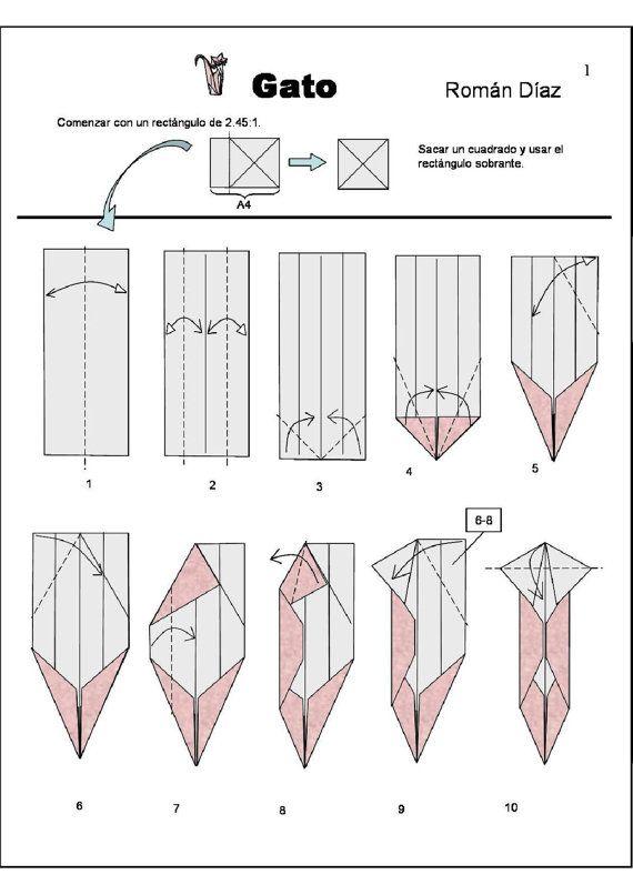 cat diagram 1 of 3 money origami dollar bill art origami rh pinterest com Directions to Make Money Origami Folding Money into Shapes