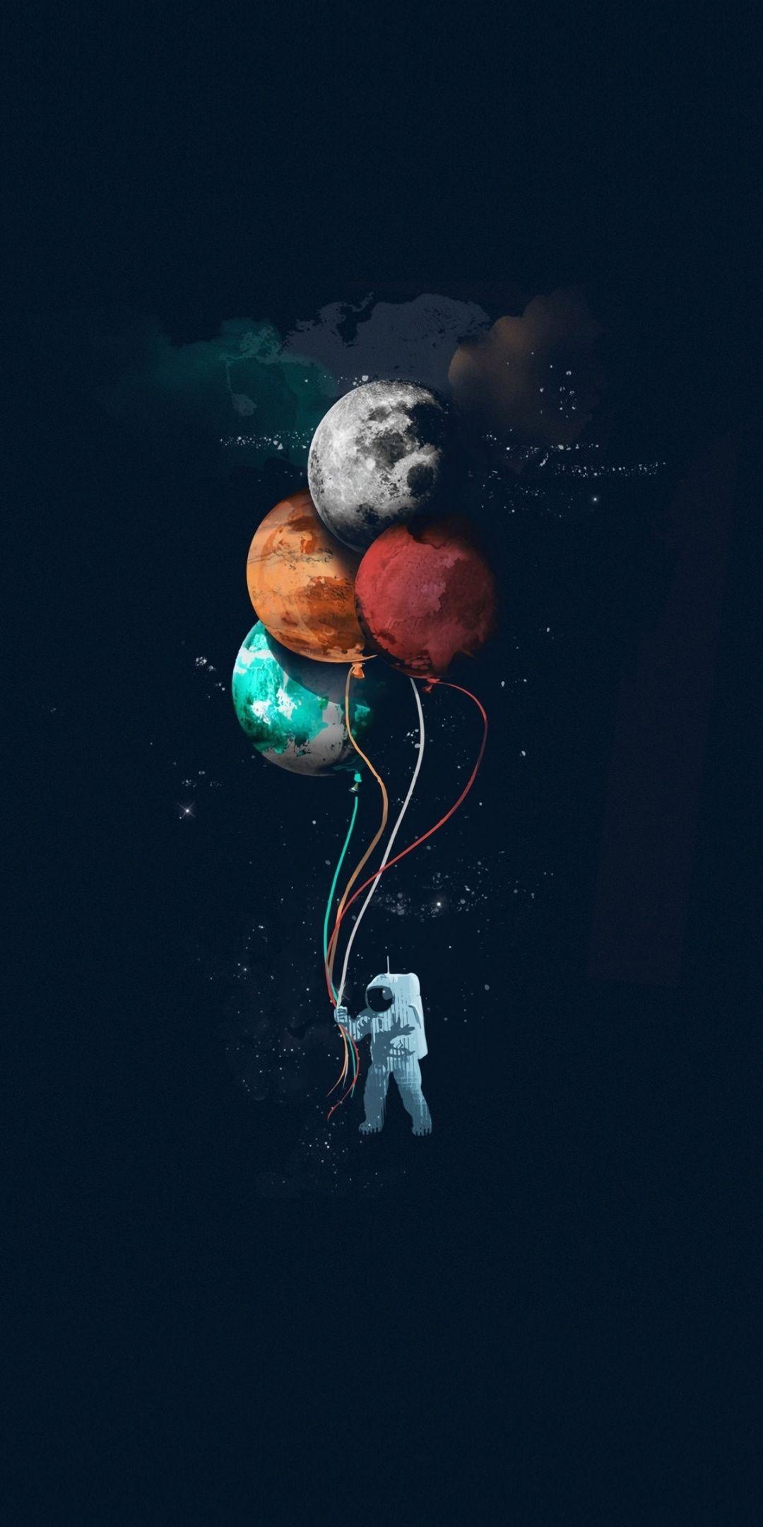 1080x2160 Astronaut, balloons, space, minimal, art ...