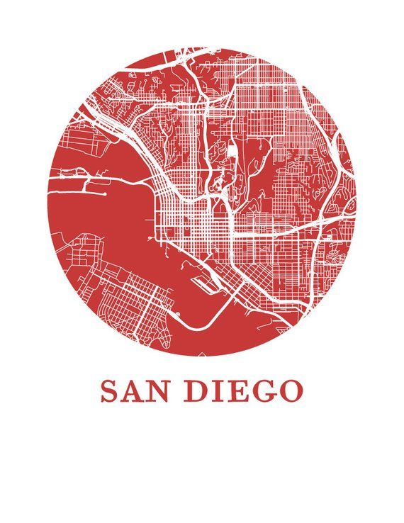 San Diego Map City.San Diego Map Print City Map Poster Products City Maps Map