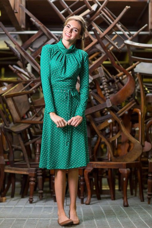 Turtle Neck Green Leah Dress from the Fall Collection by Shabby Apple
