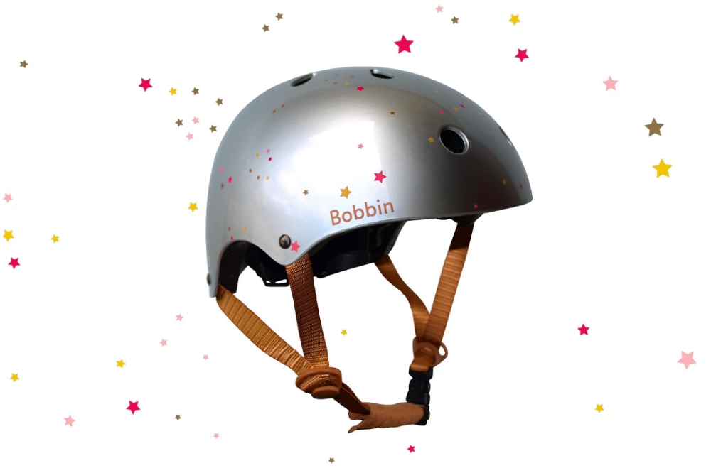 Starling Helmet Silver Multi Stars S M In 2020 Kids Bike Helmet