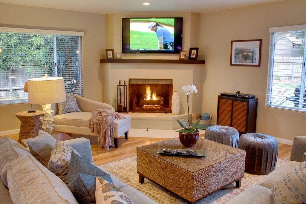 Small Living Room With Corner Fireplace pebble beach house rental: spacious, newly remodeled, designer