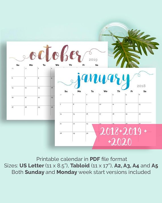 Calendario A2.Printable Calendar 2018 2019 Large Wall Calendar 2018 Desk