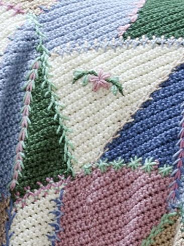 Embroidered Crazy Quilt Afghan Yarn Free Knitting Patterns