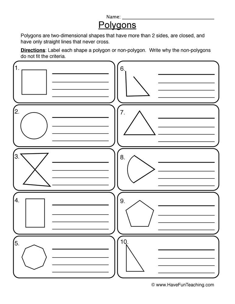 Polygons Worksheet Have Fun Teaching Worksheets Teaching