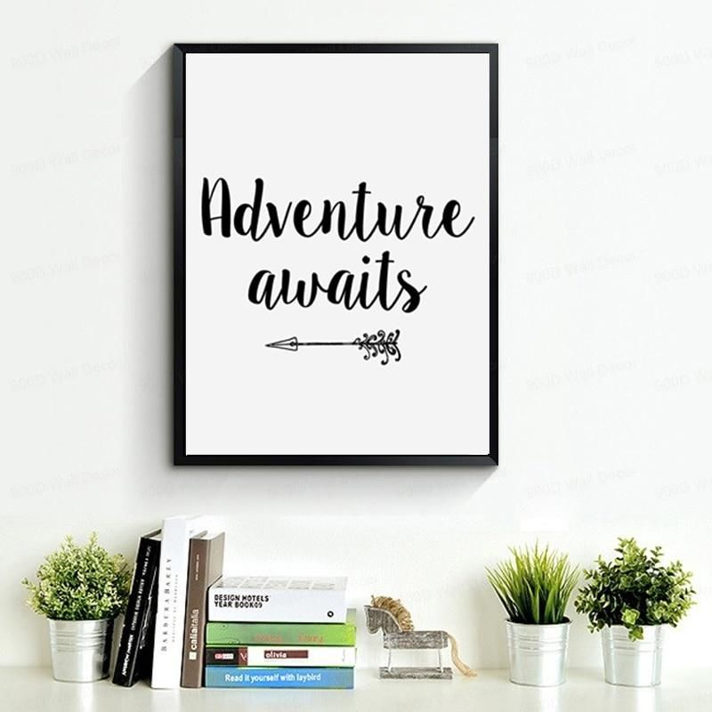 Adventure Awaits Inspirational Quotation Canvas Print For Travel Shop Customized Canvas Art Black And White Posters Decorating With Pictures