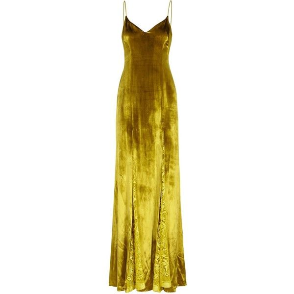 Galvan Dark Yellow Velvet And Lace Gown Size 10 ($2,245