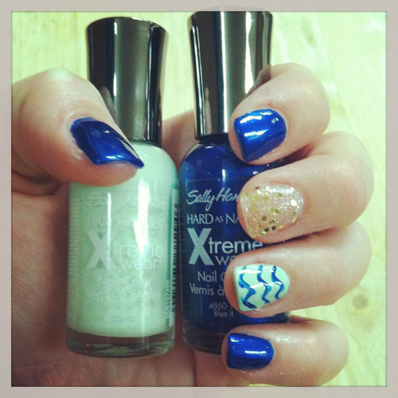 Pinterest Inspired Nails! #pinterestnails #chevron #mint #navy #blue ...