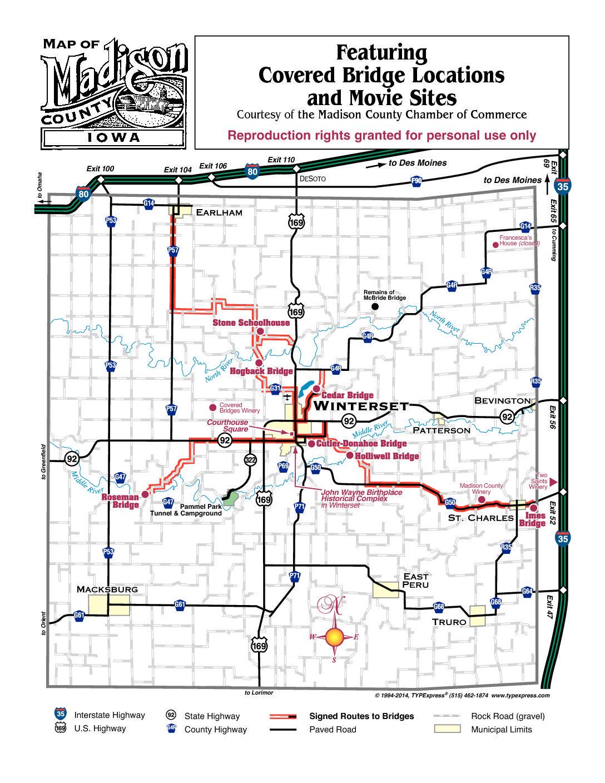 map of madison county iowa Map To Bridges Madison County Iowa Chamber Welcome Center map of madison county iowa