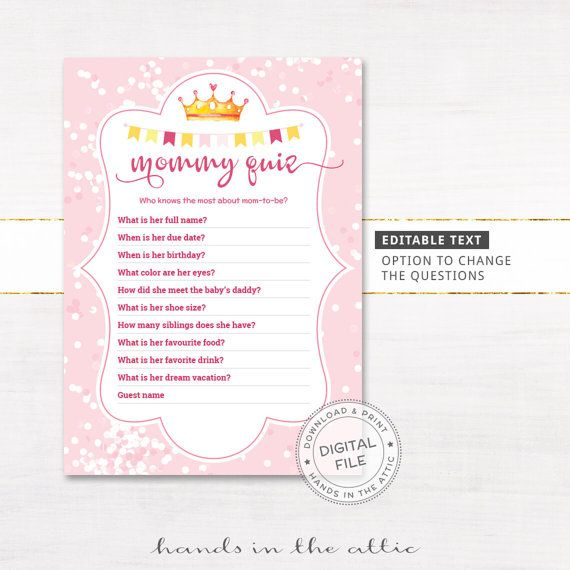 Baby Shower Games Quiz Customized Questions Printable Mommy Quiz