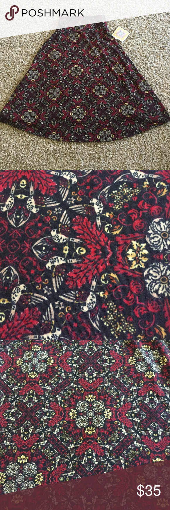 NWT Lularoe Bird Azure, Small NWT Lularoe Azure skirt in small. Cottony material. Black with burgundy, yellow, and taupe design. Fun geometric pattern with hidden birds and florals! Funky, yet subtle! LuLaRoe Skirts A-Line or Full