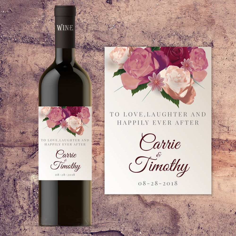 Wedding Wine Label NEW 4 Labels Cheers to Love Laughter /& Happily Ever After Wine Label Wedding Wine Favour Mr and Mrs Wine Label
