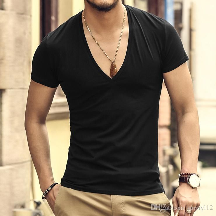 a76350b8c361 New Arrival Fashion Style Plain Mens Deep V neck Sexy Tight T Shirts 10  colors S to XXL size for men t shirts
