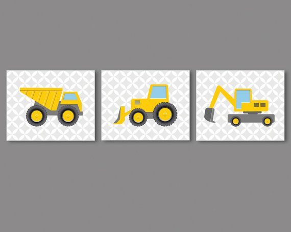 A set of 3 prints - construction vehicles for a boys room, nursery. Frames are not included, you will need frames to frame the prints.  Available in 8