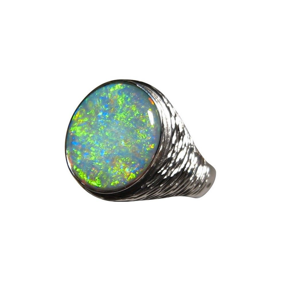 Mens Big Opal Ring Silver or Gold Opal rings 925 silver and Ring