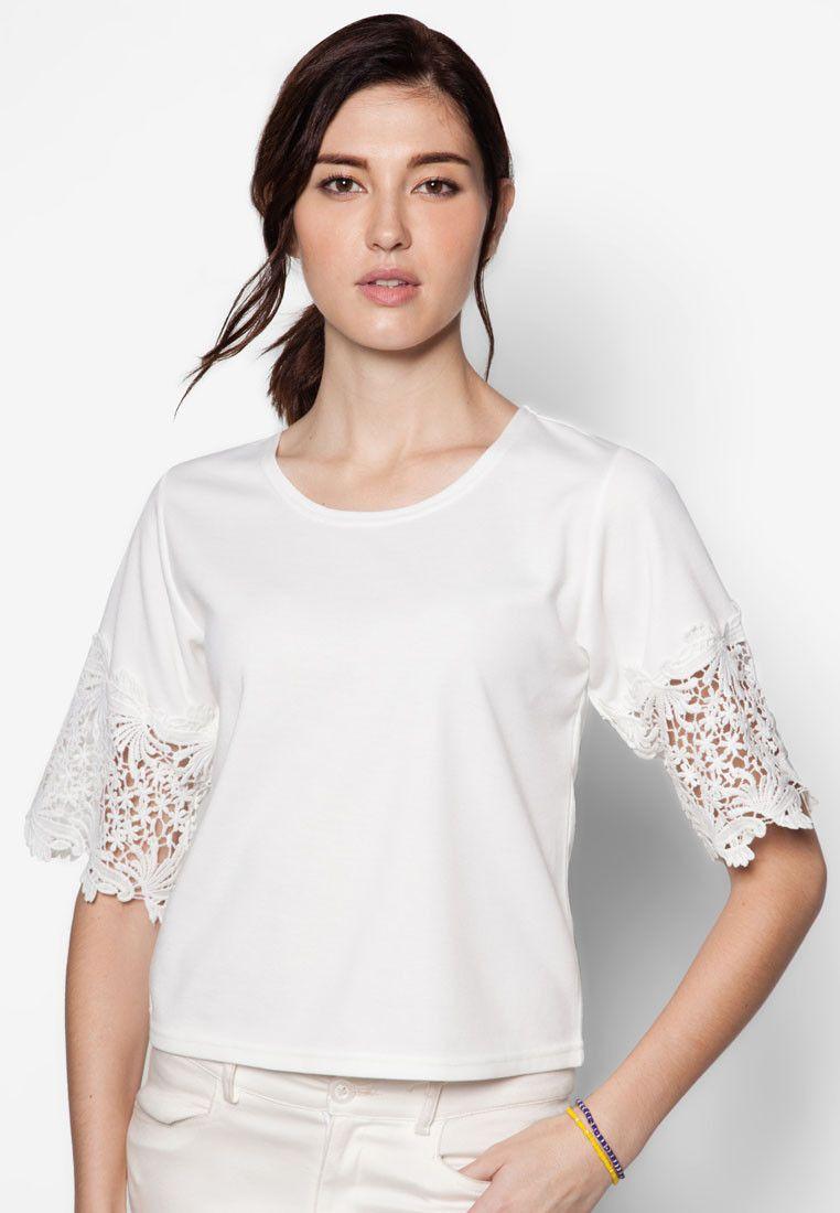 Buy Maxqullo White Lace Sleeve Top | ZALORA HK