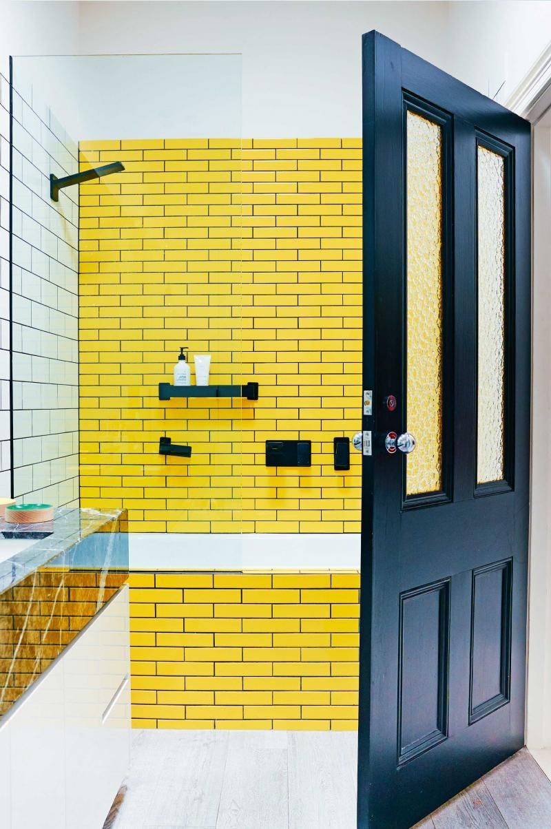 Yellow subway tiles bathroom  Yellow bathroom tiles, Yellow