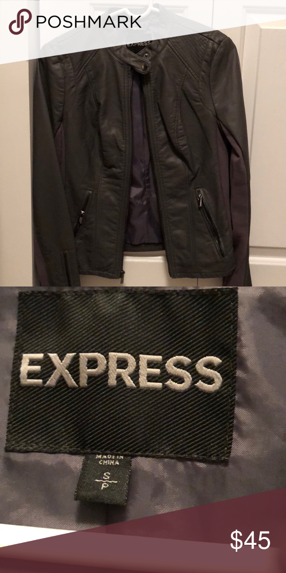 Express faux leather jacket. Grey. Small Leather jacket