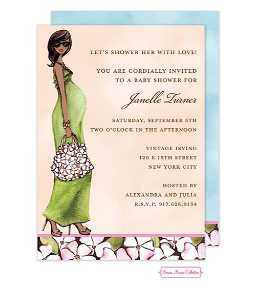 African American Pregnant Baby Shower Invitations   Design Green Mom Baby  Shower Party Invitations