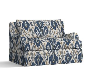 PB Comfort English Arm Slipcovered Twin Armchair Sleeper, Knife Edge Polyester Wrapped Cushions, Ikat Geo Blue