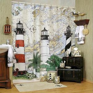 Harbour Lights Lighthouse Shower Curtain Nautical Shower