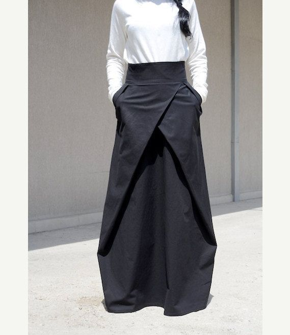 Photo of Straight Romantic Full Length Skirt with Pockets, Black Bohemian High Waist Skirt, Evening Loose Fit Bridesmaid Skirt, Urban Style Clothing