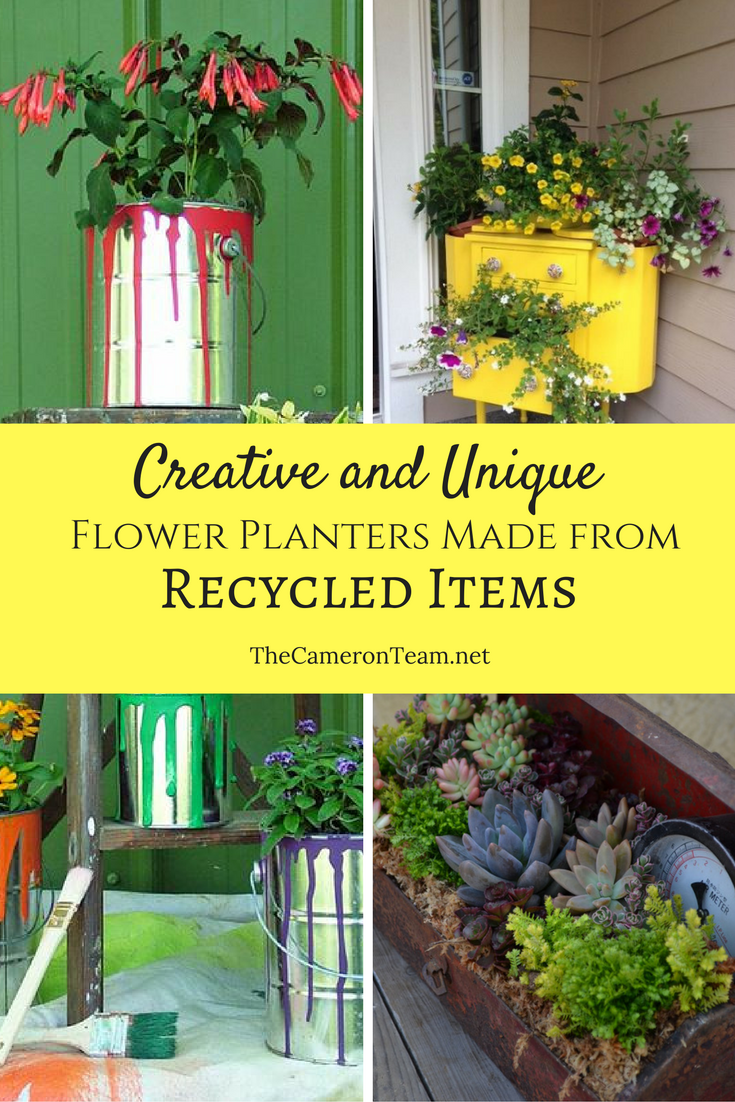 Creative And Unique Flower Planters Made From Recycled Items Flower Planters Unique Flower Pots Flower Pots Outdoor