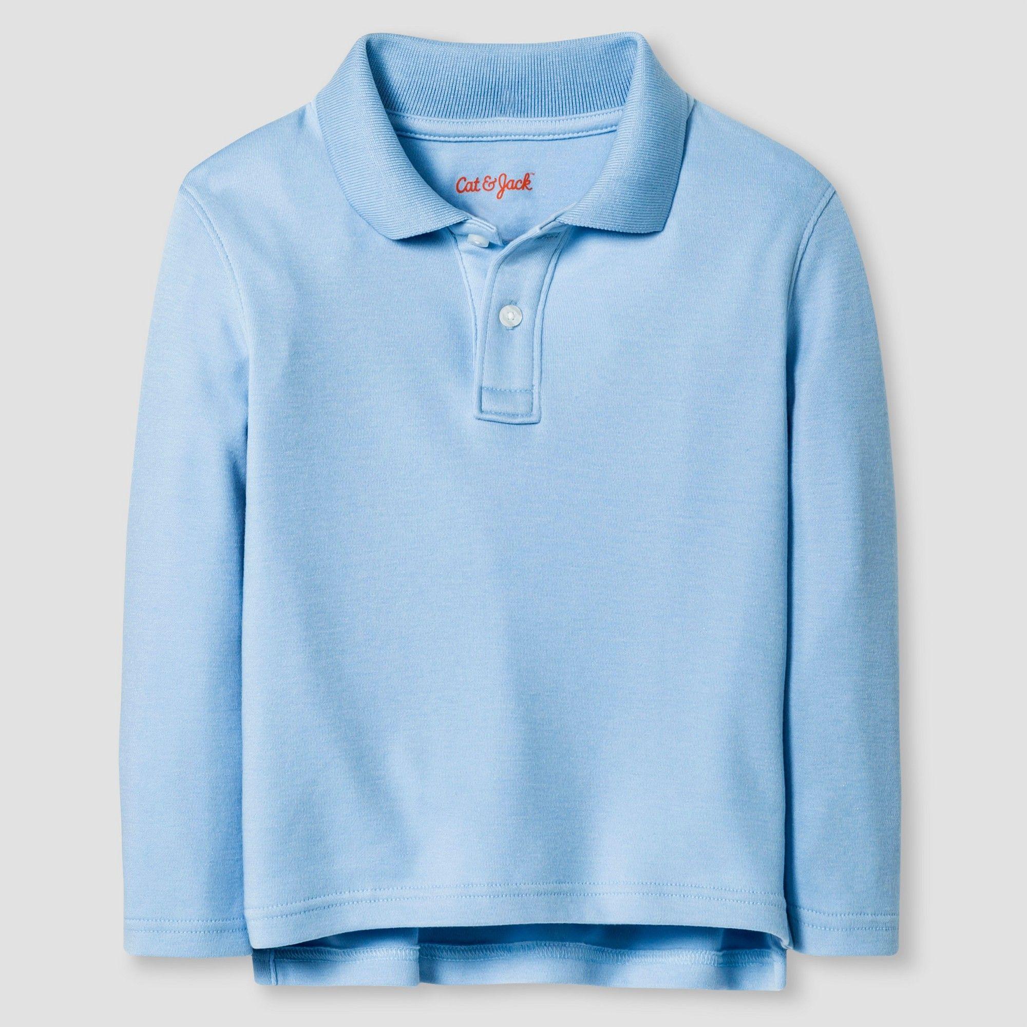 2cbd2822 Toddler Boys' Long Sleeve Interlock Polo Shirt Cat & Jack Light Blue, Size:  3T