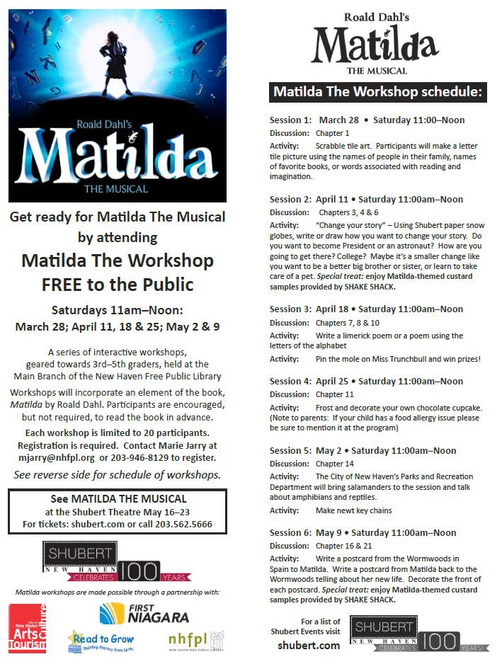 Matlida Workshop at the Ives Branch. Geared toward children in 3rd-5th grade. Call to sign up! #matlida #ronalddahl #musicals #shubert