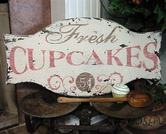 Shabby Chic Kitchen Signs : Fresh cupcakes shabby cottage french country signs kitchen bakery 24