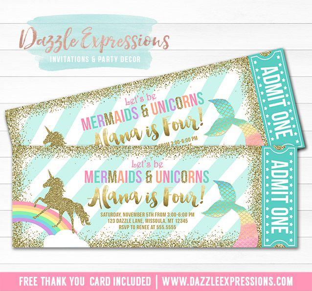 Printable Mermaid And Unicorn Ticket Birthday Invitation
