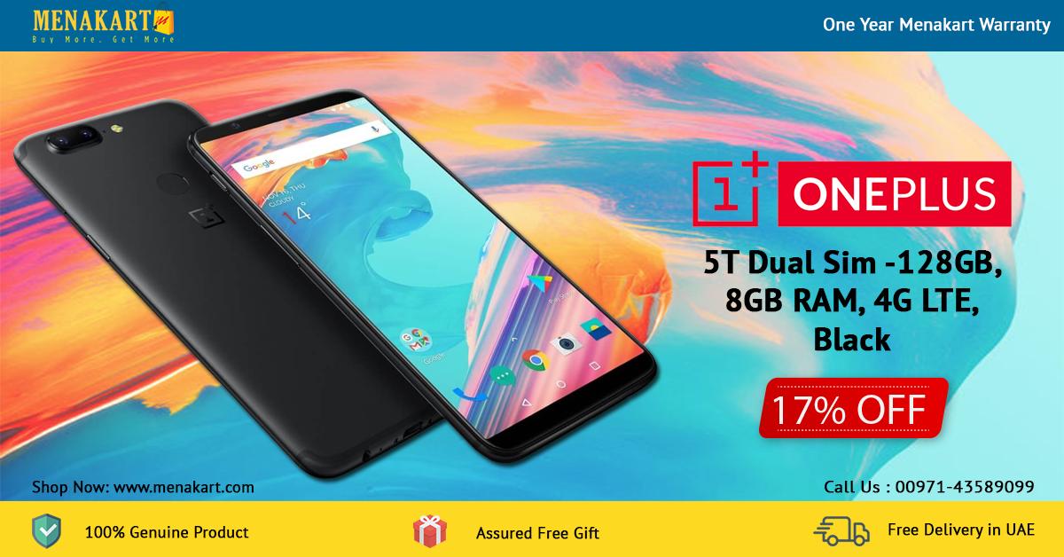 OnePlus 5T Dual Sim - 128GB, 8GB RAM, 4G LTE,Black | Mobile Phones