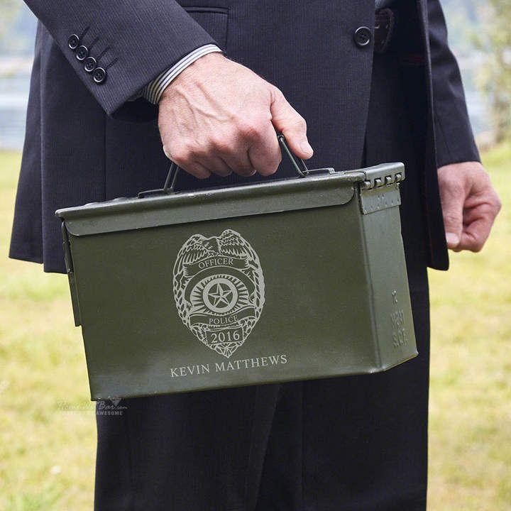 Etsy police badge personalized ammunition box awesome
