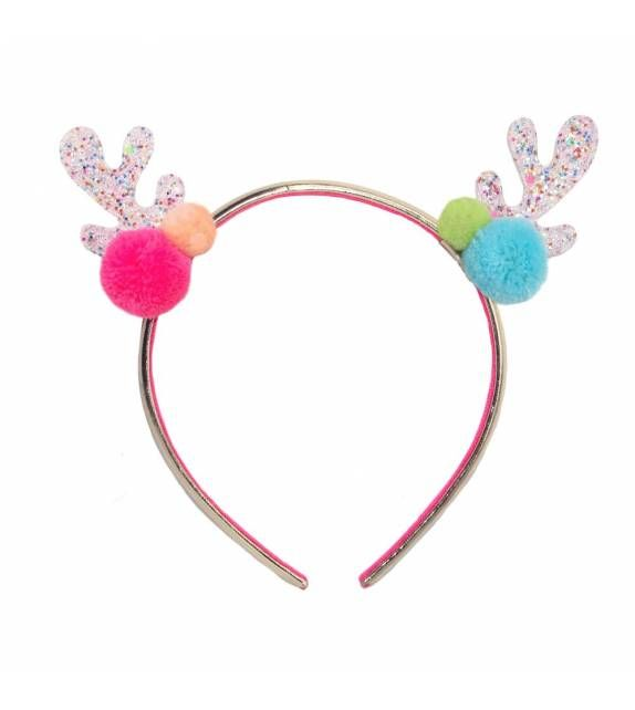 Tutti Frutti Reindeer Head Band by the brand Rockahula Kids. Add a little festive fun to your Christmas with our super cute tutti frutti glitter reindeer ears! In white rainbow glitter and adorned with beautiful bright pom poms on each side, they are set securely onto a gold band.