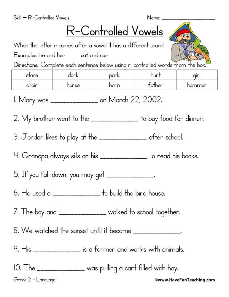 R Controlled Vowels Fill In The Blanks Worksheet Have Fun Teaching Grade R Worksheets Vowel Worksheets Phonics Worksheets Free