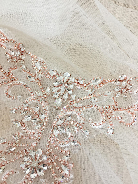 a48592aa3f2bd Rhinestone beaded lace collar applique in Rose Gold Silver, Delicate ...