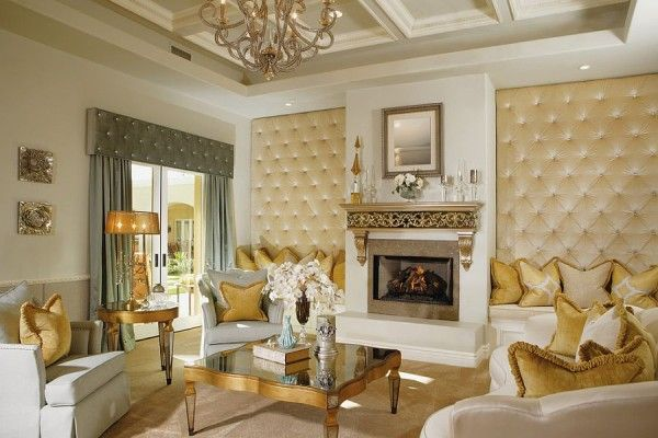 Upholstered walls in the comfy living room with golden charm is part of Elegant Living Room Gold - Upholstered walls in the comfy living room with golden charm [Design Guided Home Design]